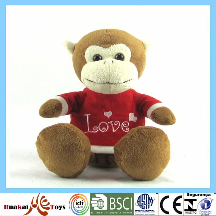 Soft stuffed plush toy custom logo monkey with red shirt0-0.jpg