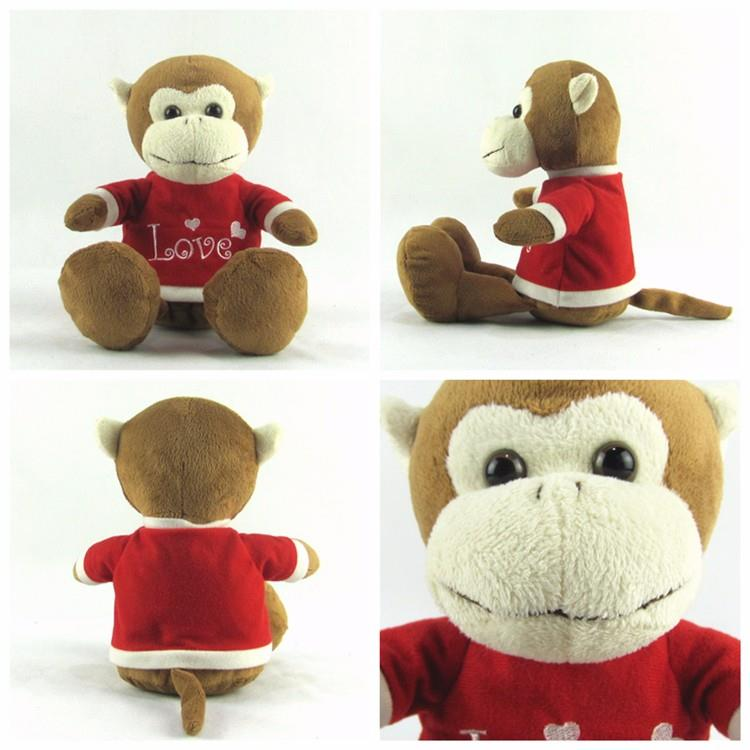 Soft stuffed plush toy custom logo monkey with red shirt0-2.jpg