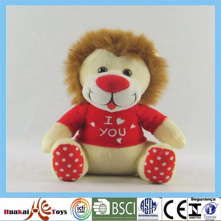 high quality plush material promotional customized lion type wild animal stuffed toy with t shitr for kid (7).jpg