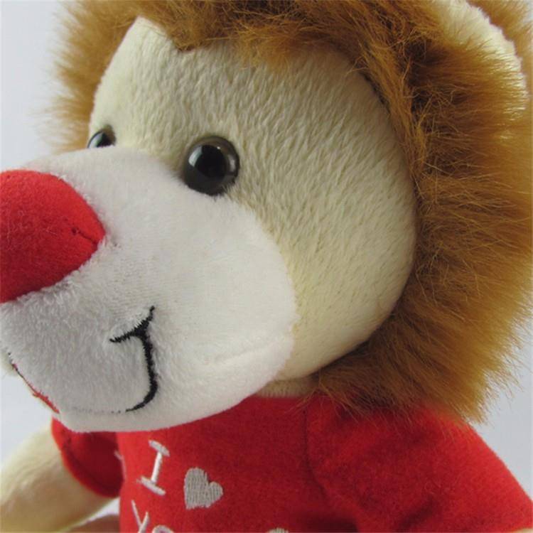 high quality plush material promotional customized lion type wild animal stuffed toy with t shitr for kid (2).jpg