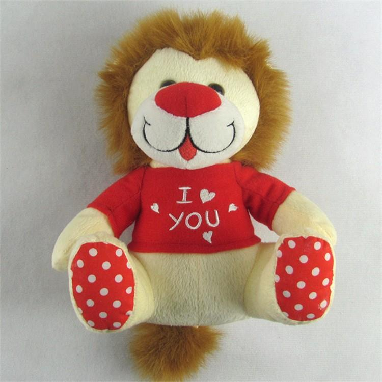 high quality plush material promotional customized lion type wild animal stuffed toy with t shitr for kid (6).jpg