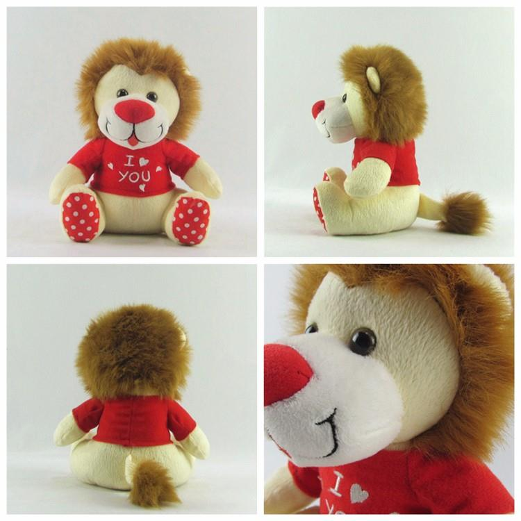 high quality plush material promotional customized lion type wild animal stuffed toy with t shitr for kid (8).jpg