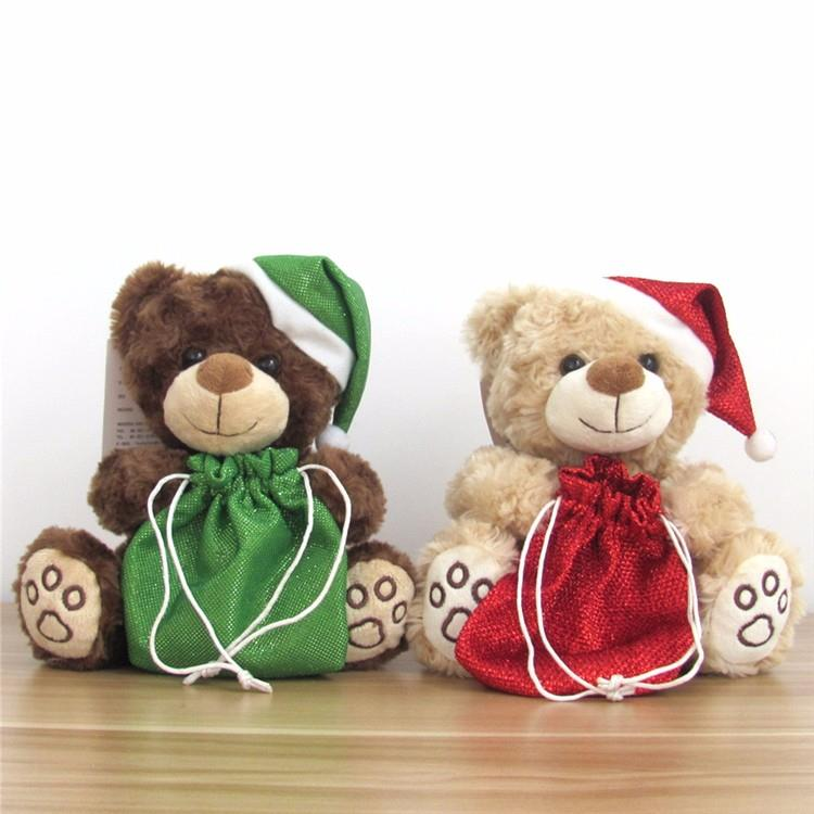 animal plush gift small teddy bear with green lucky bag for christmas (3).jpg