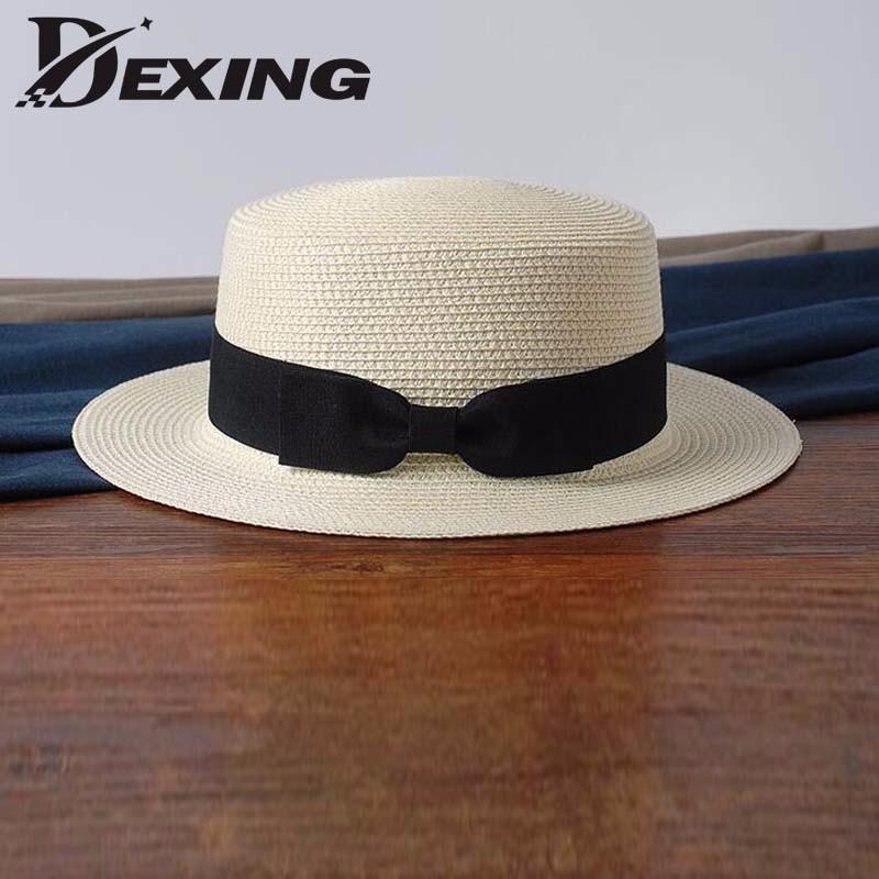 0681bafc869  Dexing  Lady sun caps straw hat boater hat Women s bow summer Hats For Women  Beach panamaflat bow straw hat chapeau femme