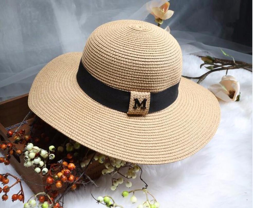 bd2f5eb5905ee Buy Hot sale M letter Seaeside sun hats for women summer large ...