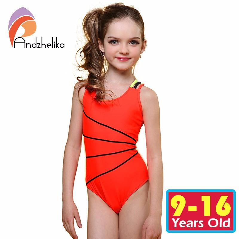 2464926cdf4 Buy Andzhelika 2017 Swimsuit Girls One Piece Swimwear Solid Bandage ...