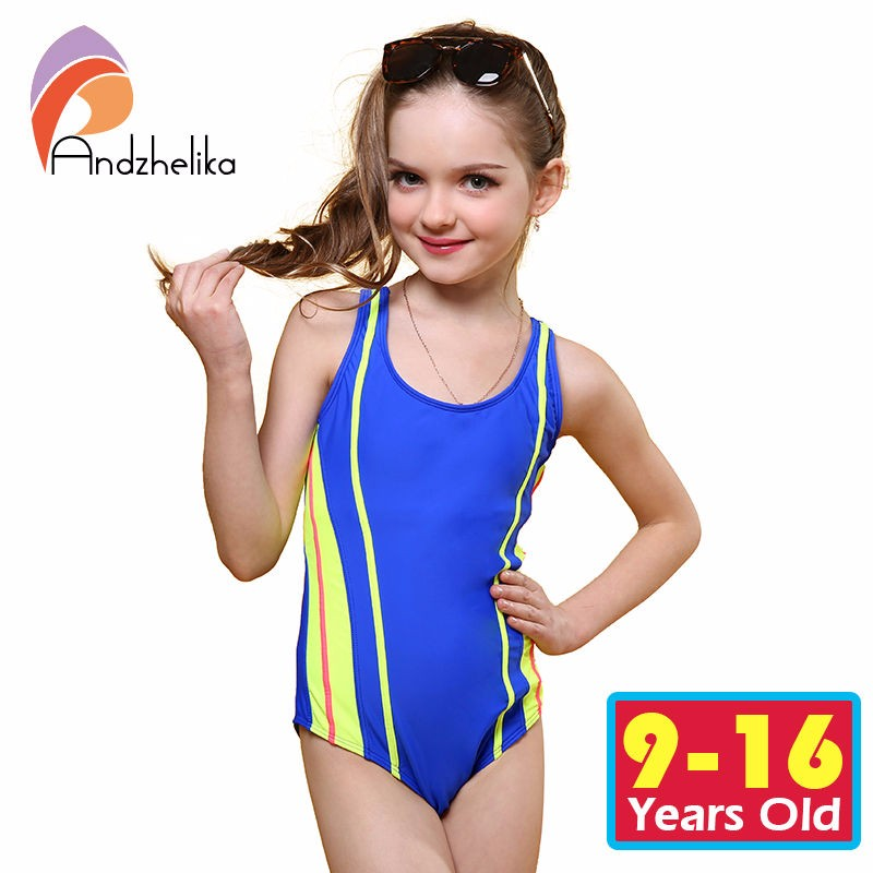 bd8f7f5f076c9 Andzhelika One Piece Children Swimsuit Girls Summer Patchwork Solid  Swimwear Sports Bodysuit Girl Swim Suits Bathing Suit AK8911