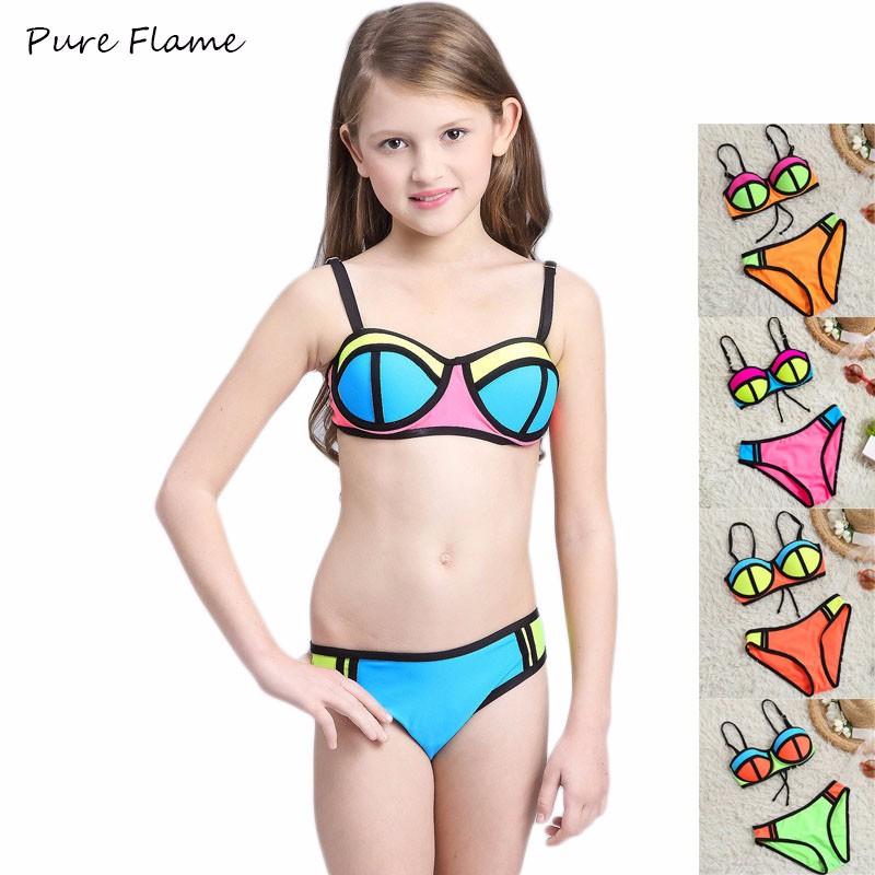 4929252ea1 Swimsuit Children kid 2017 New Contrast Color Beachwear Bikini Girl Teenage  Patchwork Two Pieces Bathing Suit Child's Swimwear